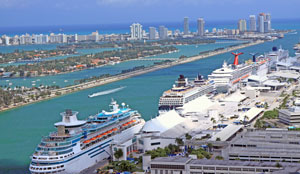 View overlooking cruise ships at the Port of Miami
