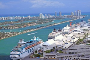 Overhead view of cruise ships at the Port of Miami